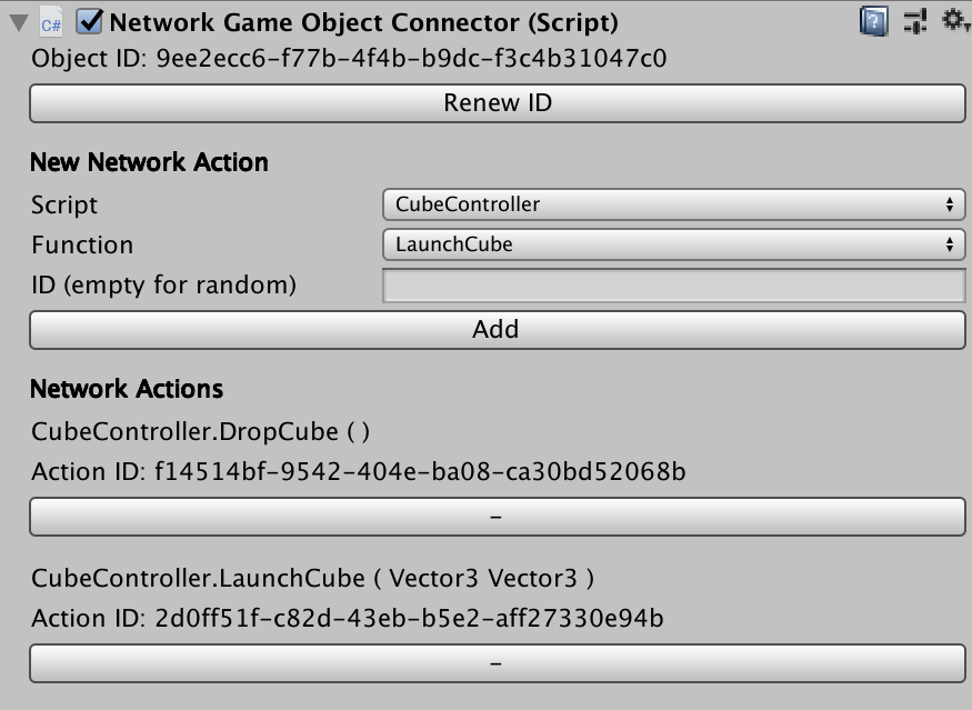 Screenshot of the Network GameObjec Connector with two registered methods